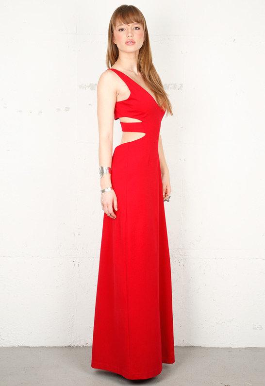 Singer22 Slit Maxi Dress in Red - as seen on Catt Sadler - by SENA