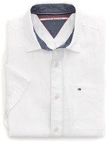 Tommy Hilfiger Solid Linen Short Sleeve Custom Fit Shirt