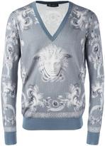 Versace 'Lenticular Foulard' v-neck jumper