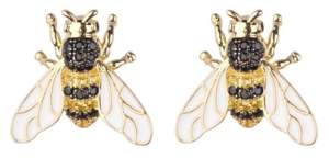 Noir Black/Gold Cubic Zirconia Bee Stud Earring