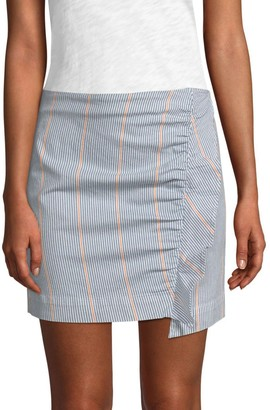 3x1 Jane Ruffled Striped Mini Skirt