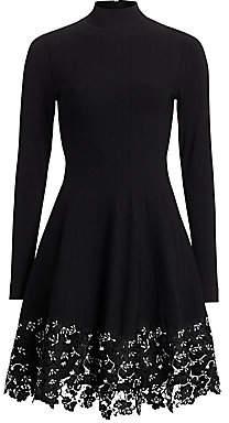 Lela Rose Women's Lace Hem Knit Fit-&-Flare Dress