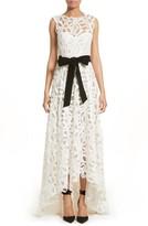Monique Lhuillier Women's Velvet Tie Lace A-Line Gown