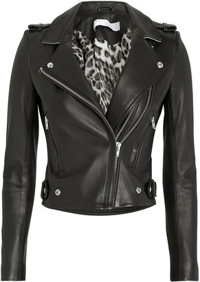 IRO Dylan Cropped Contrast Collar Moto Jacket