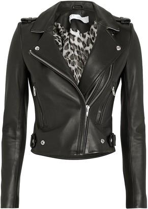IRO Dylan Cropped Contrast Collar Moto Jacket
