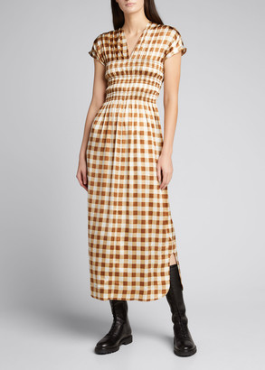 Ganni Gingham Cap-Sleeve Stretch Silk Maxi Dress