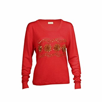 Asneh Sequin & Bead Embellished Krystle Cashmere Sweater In Red