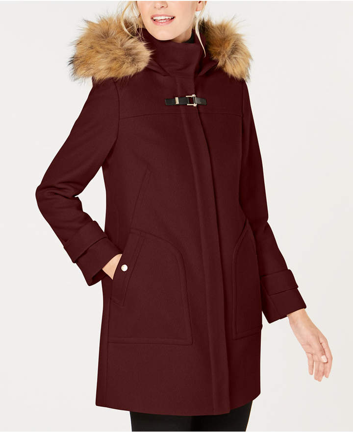 Cole Haan Petite Faux-Fur-Trimmed Toggle Coat