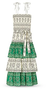 Tory Burch Printed Tiered Ruffled Dress