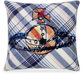 Vivienne Westwood Scribble Orb Cushion In White & Blue