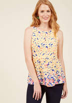 Mct1234 Following a day of relaxation, you're ready to hit the town in this yellow top feeling completely refreshed! The cute keyhole, racerback-style straps, and subtle peplum of this floral-printed beauty from our ModCloth namesake label only add to your recent