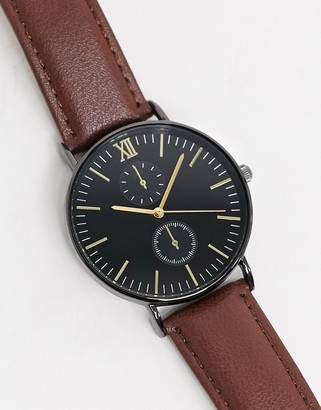 Topman leather chronograph watch in brown