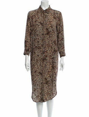 Anine Bing Animal Printed Long Sleeve Dress Beige