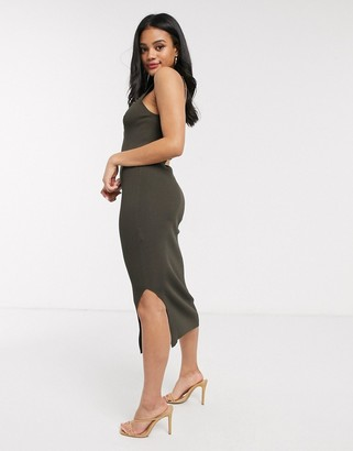 Morgan knitted zip bodycon midi dress in khaki