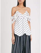 KENDALL + KYLIE KENDALL & KYLIE Off-the-shoulder pinstripe woven top