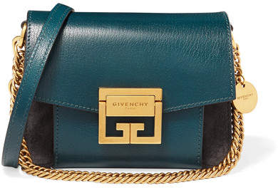 Givenchy Gv3 Mini Two-tone Suede And Textured-leather Shoulder Bag - Blue