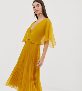 Asos Tall DESIGN Tall flutter sleeve midi dress with pleat skirt-Gold