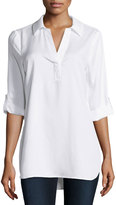 Neiman Marcus Tabbed-Sleeve High-Low Tunic, White