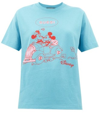 Gucci Mickey Mouse-print Cotton T-shirt - Blue