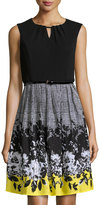 Ellen Tracy Floral-Patterned Fit-and-Flare Dress, Black/White/Yellow