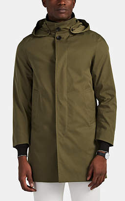 Barneys New York Men's Hooded Trench Coat - Olive