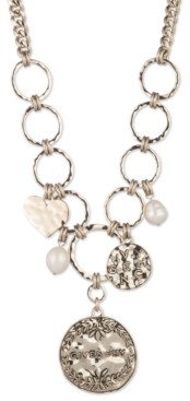 """Givenchy Gold-Tone Genuine Pearl (10x12mm) & Logo Disc Pendant Necklace, 16"""" + 3"""" extender"""