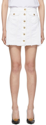 Versace White Denim Demo Miniskirt