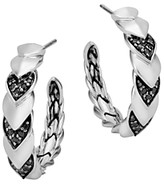 John Hardy Sterling Silver Naga Hoop Earrings with Black Sapphire and Black Spinel