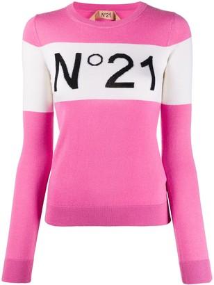 No.21 Logo Ribbed Crew Neck Jumper