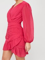 Missguided Dobby Mesh Ruched Detail Frill Mini Dress - Pink