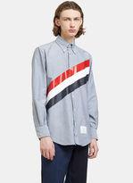 Thom Browne Men's Classic Diagonal Striped Oxford Shirt In Navy
