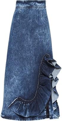 Miu Miu Ruffled Midi Denim Skirt