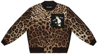 Dolce & Gabbana Kids Leopard stretch-cotton track jacket