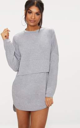 PrettyLittleThing Grey Long Sleeve Jersey Layer T Shirt Dress