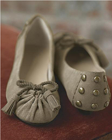 Pleated suede flat