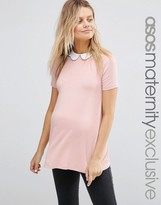 Asos Top with Contrast Scallop Collar