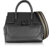 Versace Palazzo Empire Grained Leather Satchel Bag w/Black Medusa