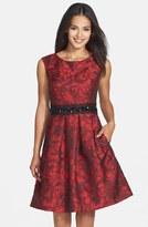 Eliza J Embellished Waist Brocade Fit & Flare Dress