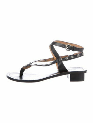 Isabel Marant Leather Studded Accents Sandals Black