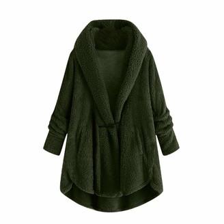HUYURI Women Coat Jacket Women Hooded Sweater Coat Winter Warm Wool Zipper Coat Cotton Coat Outwear