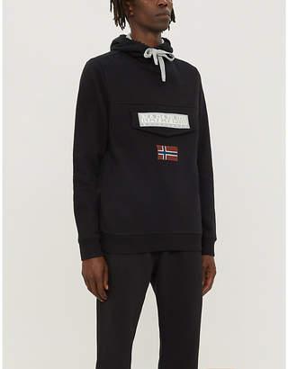 Napapijri Branded-patch drawstring cotton-jersey hoody