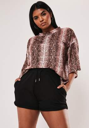Missguided Plus Size Black Jersey Runner Shorts