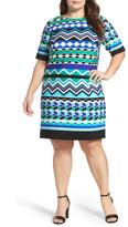 Eliza J Graphic Print Shift Dress (Plus Size)
