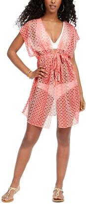 Becca Neon Crochet Kimono Swim Cover-Up Women's Swimsuit