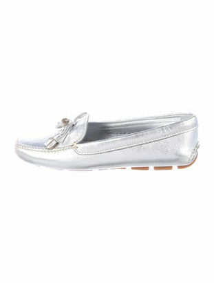 Prada Patent Leather Bow Accents Moccasins Metallic