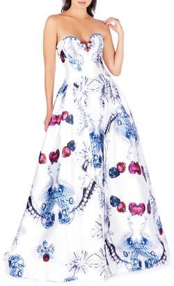 Mac Duggal Strapless Bejeweled-Print Ball Gown with Pockets