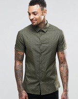 Asos Skinny Shirt In Khaki With Triangle Print And Short Sleeves