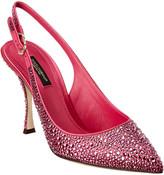 Dolce & Gabbana Crystal Embellished Satin Slingback Pump
