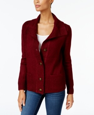 Karen Scott Plus Size Button-Front Marled Cardigan Sweater, Created For Macy's