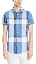 Calvin Klein Jeans Men's Exploded Beach Plaid Short Sleeve Button Down Shirt